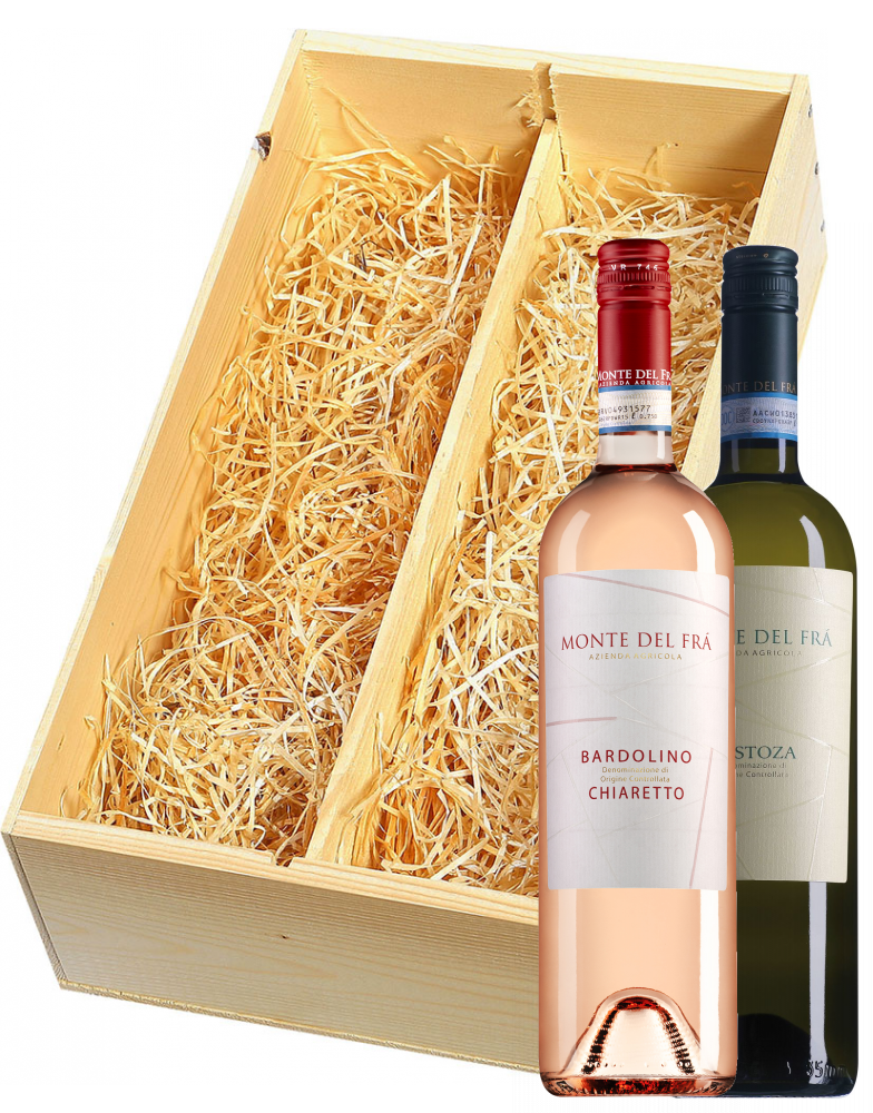 Wijnkist met Monte del Frà Custoza en Bardolino Chiaretto